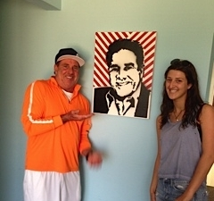 """Bill admiring """"street art"""" tribute at the office by Sarah Silbiger 2014"""