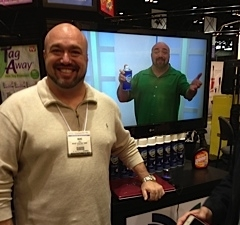 Marc promoting Stream Clean at the Houseware Show 2009, thanking Erica for discovering him.